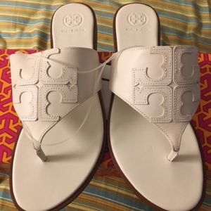Tory Burch Ivory Jamie Logo Thong Leather Sandals